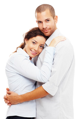 Young couple resting in each others arms