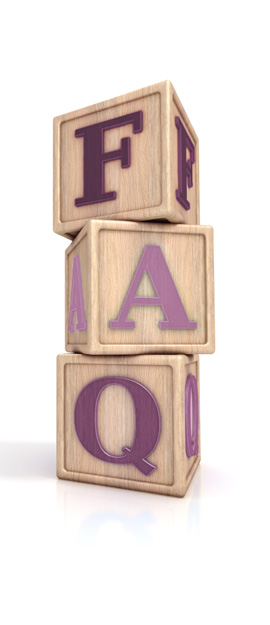 Wooden childrens letter blocks with the letters F, A, and Q